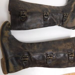AMAZING FRYE CUSTOM DISTRESSED LEATHER BOOTS